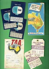 #D455.  1950s  TAA TRANS AUSATRALIA AIRLINES  TICKETS, LUGGAGE TAGS, LOG & MAP