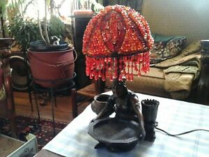 """Vintage Cold Painted spelter Gypsy Women Lamp & Ashtray in the """"Bergman style"""""""