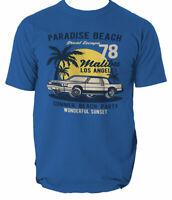 Paradise Beach T Shirt Mens Surfing California Surf Ride Waves S-3XL