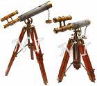 Antique Vintage Double Barrel Scope Leather & Brass Telescope Wooden Tripod Gift