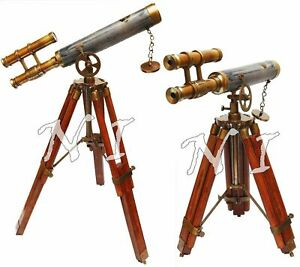 Antique Vintage Double Barrel Scope Leather & Brass Telescope Wooden Tripod Gift