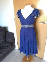 Ladies MONSOON Dress Size 8 Blue Beaded Chiffon Smart Party Evening Cruise