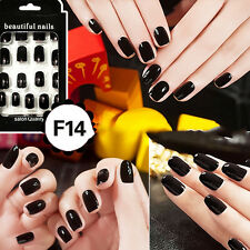 24pcs French Acrylic False Fake Nail Art Fingernail Full Tips Pretty XBUK Flesh