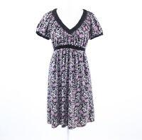 Black purple floral print BCBG MAX AZRIA short sleeve empire waist dress S
