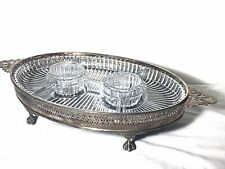 Large Antique Silver Plate Silverplate Snack Tray. Plenty Of Plates. Nice Piece