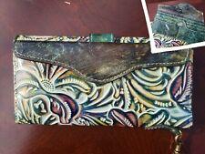 New ListingNwt Patricia Nash Valentia Ii Tooled Turquoise Multi Leather Wristlet Wallet