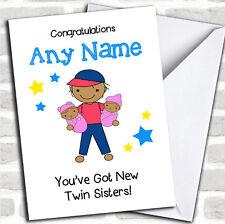 Congratulazioni asiatico NUOVO BABY TWIN Sisters le ragazze di pari livello carta personalizzati