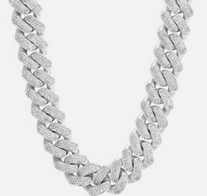 925 Sterling Silver CZ Studded Silver Men Cuban Chain