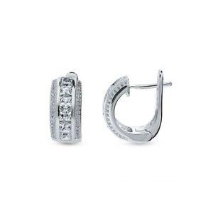 925 Sterling Silver CZ Cubic Huggie Hoop Small Earrings Men Women - Gift