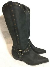 Awesome ROC Cowgirl/Biker Leather Tall Knee High Boots Sz 7  #12058
