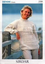 ~ Sirdar Knitting Pattern For Lady's Rolled Neckline Sampler Stitch Sweater ~