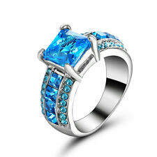 Size 8 Princess Cut Aquamarine Engagement Ring 10KT White Gold Filled Jewelry