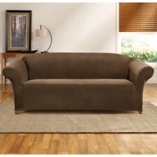 Sure Fit Sofa Slipcover Simple Stretch Madison Stripe One Piece in Taupe