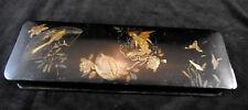 Boite à gants Napoleon 3 en carton bouillit décor japonisant en relief