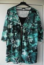 Damenshirt Shirt 2 in 1 Viskose Elasthan schwarz blau grau Gr. 48