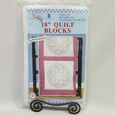 """JDNA Starburst of Hearts 18"""" Quilt Blocks Hand Embroidery Crafts Gift Item 732"""