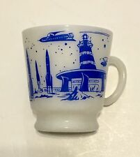 Hazel Atlas Childs Rocket Astronaut Outer Space Ship 1950's Milk Glass Mug Cup