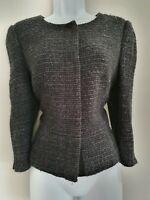 Womens Hobbs Dark Grey Boucle Wool Popper Fastening Fitted Formal Work Jacket 14