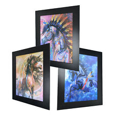 3 Dimension 3D Lenticular Picture Native American Indian Tribe Horse Feather