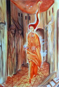 REMEDIOS VARO / Lovely Authentic Pastel Technique on Paper, Signed.