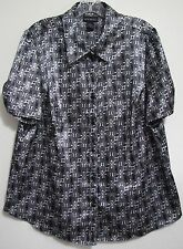 Lane Bryant 14/16 Black White 3D Geometric Button Shinny Shirt Blouse Polyester