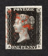 QV 1840 SG 2 1d Negro Placa 6 (a B) 4 margen Penny Black with red M x PMK