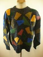 Mens L Marienbad Vtg Sweater Art to Wear Pullover Knit Crewneck Artsy Patchwork