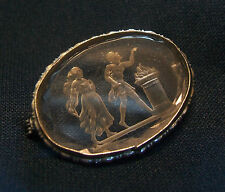 Antique Crystal Reverse Intaglio Brooch - Unsigned - France - Early 20th Century