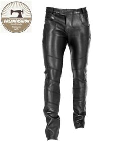 Mens Leather Genuine Sheep Leather Party Pants -Flap Closure Real Leather Pant