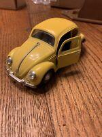 Vintage Yellow Volkswagen Beetle SS 7707 Collectors Toy Metal
