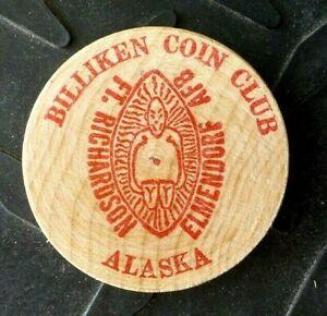 1976 ALASKA ELMENDORF AFB FT RICHARDSON BILLIKEN COIN CLUB WOODEN DOLLAR