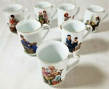 Vtg Norman Rockwell Museum Collection 1982 Coffee Mugs Cups Gold Trim Set of 7
