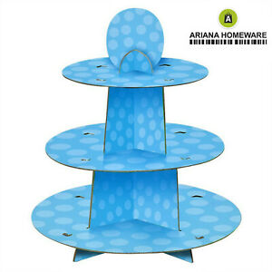3 Tier Cupcake Stand Muffin Holder Cardboard Cake Pink Blue Polka Kids Party NEW