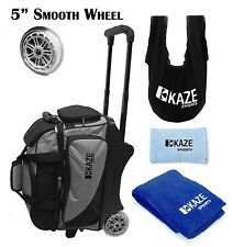 KAZE SPORTS 2 Ball Roller Bowling Bag Tote SeeSaw Grip Sack Shoe Cover Towel