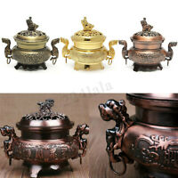 Incense Burner China Alloy Double Dragon Hollow Cover Censer Cone Holder  CN