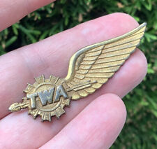 Vintage TWA Airlines Sterling Silver Pilot Wings Pin Blackinton