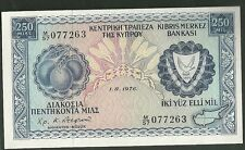 1976 Central bank of cyprus 250 mils banknote 41C currency paper money