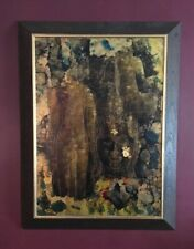 Vintage 1960s Monotype Painting Buddha Composition Raja Gallery Thailand MCM