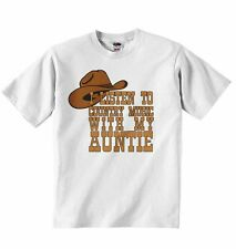 I Listen to Country Music With My Aunt - Baby  T-Shirt Tees Clothing Boys Girls