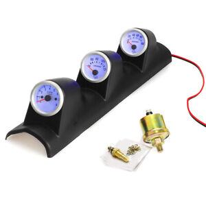 2'' 52mm Car Triple Gauge Kit 3in1 Tachometer RPM Water Temp Oil Pressure Gauge