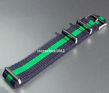 Eulit * Nylonband für Uhren * Uhrenarmband * Outdoor * blau/grün * 20 mm