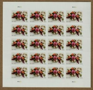 US LOVE WEDDING INVITATIONS 5458 GARDEN CORSAGE 2oz RATE MVF FOREVER STAMP SHEET