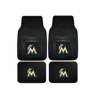 New MLB Miami Marlins Car Truck Front Back Rubber All Weather Floor Mats