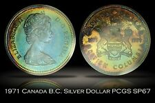1971 Canada British Columbia Silver Dollar PCGS SP67 Wonderful Blue Gold Toning