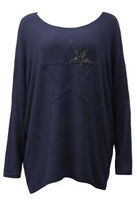 New Winter  Navy Glitter Star Jumper  MADE IN ITALY- Fits UK Sizes 14 16 xmas
