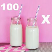 100 x 200ml Glass MINI MILK VINTAGE Bottles PARTY PACK WEDDING RECEPTION FAVOURS