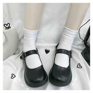 Lolita Womens Round Toe Cosplay Buckle Shoes School Mary Janes Shoes Flats Prom