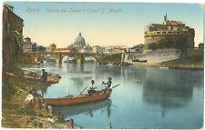 ROMA - VEDUTA DEL TEVERE E CASTEL S.ANGELO - BARCA CON PESCATORI 1911