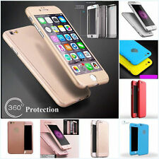 For iPhone 8 Plus 5 6 7 Hybrid 360° Tempered Glass + Hard Case Cover Skin