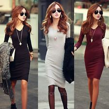 Women Fashion Autumn Winter Fitted V-Neck Knit Long Sleeve Pencil Midi Dress Hot